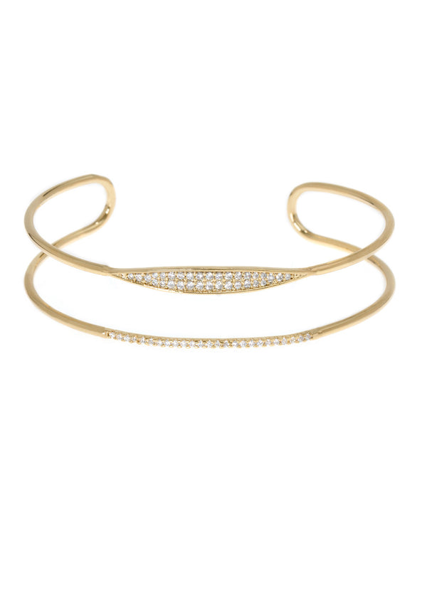 Delicate bar and spear motif adjustable bracelet with micro pave hand set high quality CZ, Gold finish
