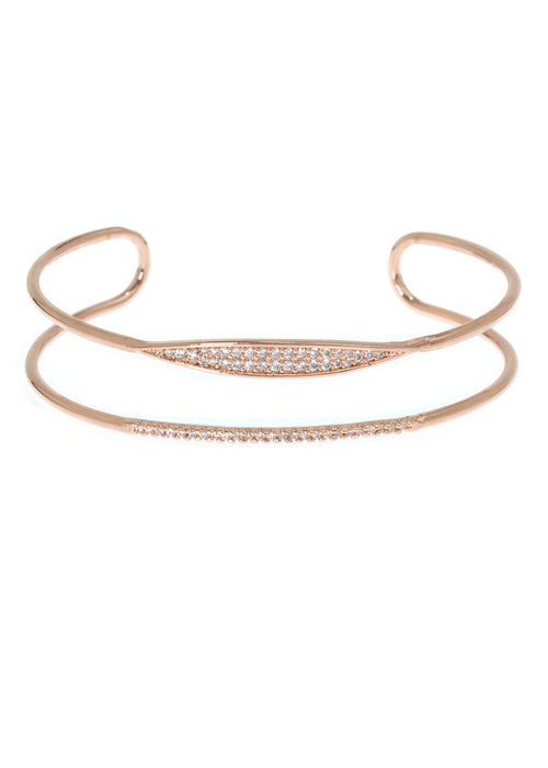Delicate bar and spear motif adjustable bracelet with micro pave hand set high quality CZ, Rose Gold finish
