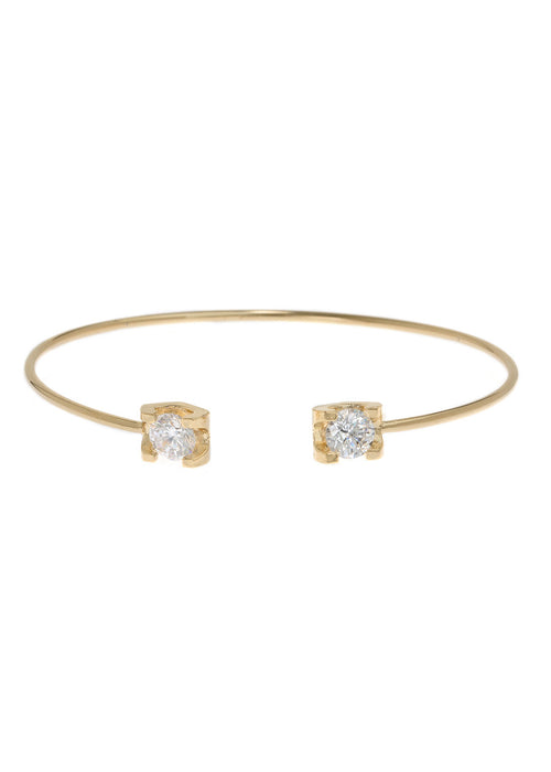 Adjustable bangle accented with two 1 carats high quality CZ, Gold finish