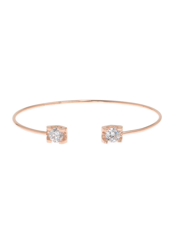 Adjustable bangle accented with two 1 carats high quality CZ, Rose Gold finish