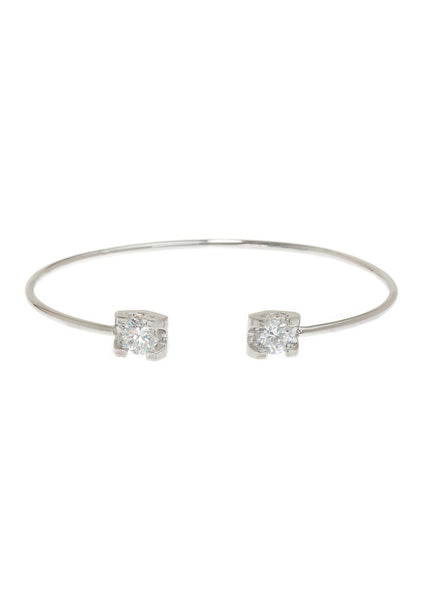 Adjustable bangle accented with two 1 carats high quality CZ, White Gold finish