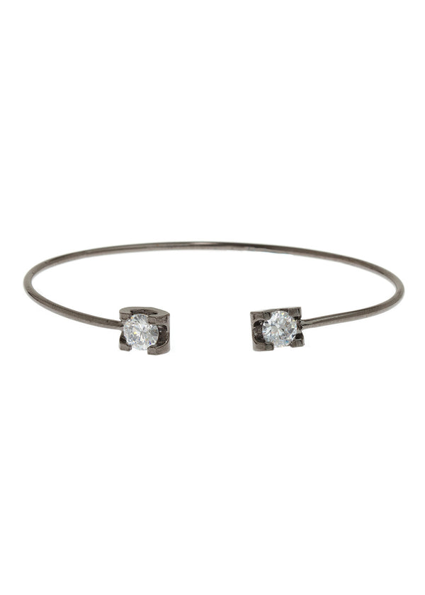 Adjustable bangle accented with two 1 carats high quality CZ, Gun metal finish