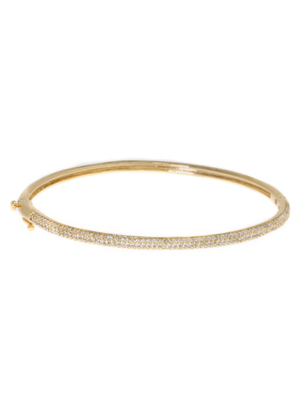 Hand set micro pave high quality CZ bangle in Gold finish, 1/8