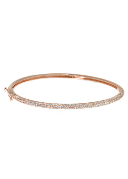 Hand set micro pave high quality CZ bangle in Rose Gold finish, 1/8