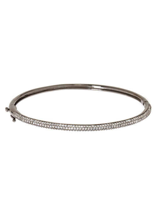 Hand set micro pave high quality CZ bangle in Gun metal finish, 1/8