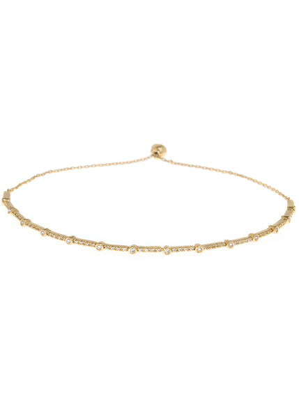 Clear CZ accented hand set micropave high quality CZ bracelet, Gold finish