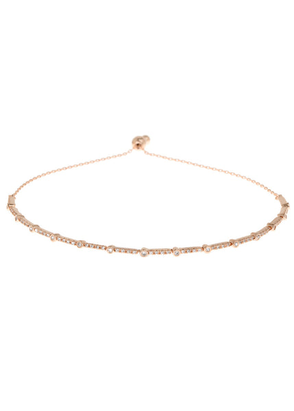 Clear CZ accented hand set micropave high quality CZ bracelet, Rose Gold finish