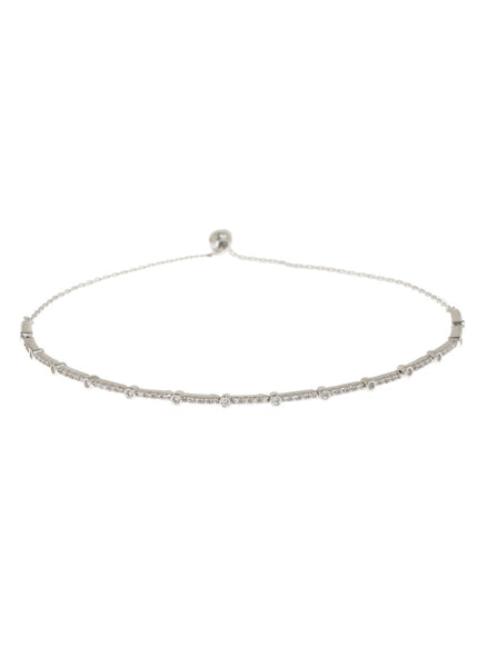 Clear CZ accented hand set micropave high quality CZ  bracelet, White Gold finish