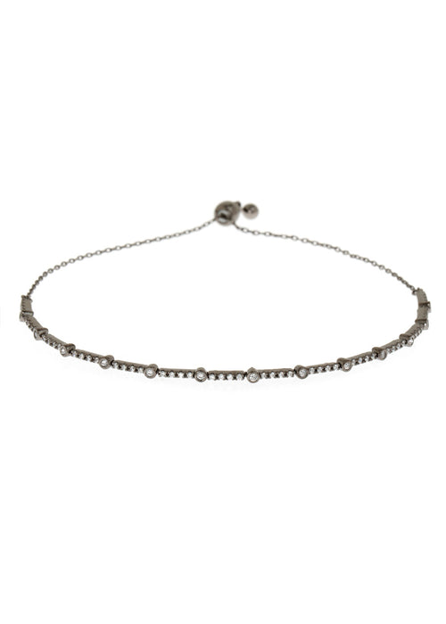 Clear CZ accented hand set micropave high quality CZ  bracelet, Gun metal finish