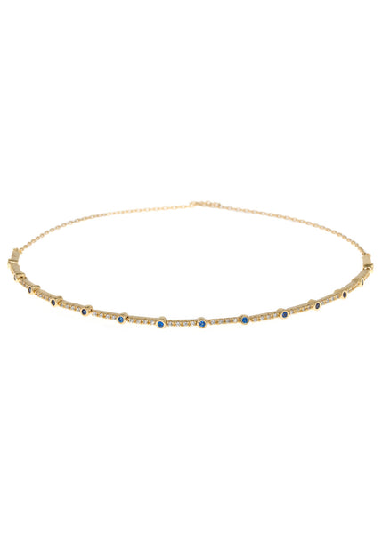 Blue Sapphire CZ accented hand set micropave high quality CZ eternity bracelet, Gold finish