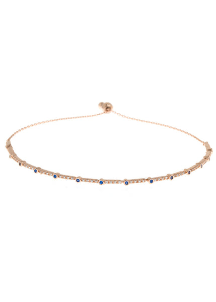 Blue Sapphire CZ accented hand set micropave high quality CZ bracelet, Rose Gold finish
