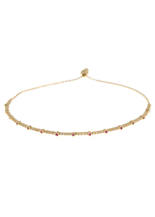 Ruby CZ accented hand set micropave high quality CZ bracelet, Gold finish