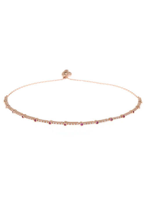 Ruby CZ accented hand set micropave high quality CZ  bracelet, Rose Gold finish