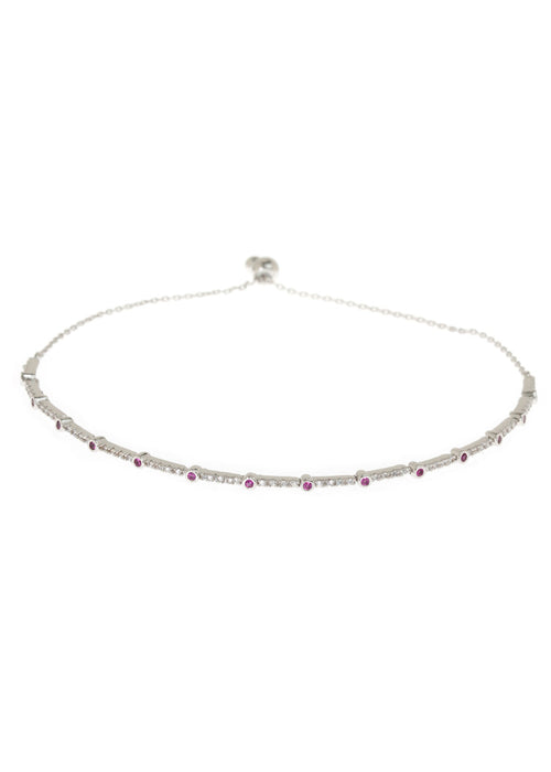 Ruby CZ accented hand set micropave high quality CZ  bracelet, White Gold finish