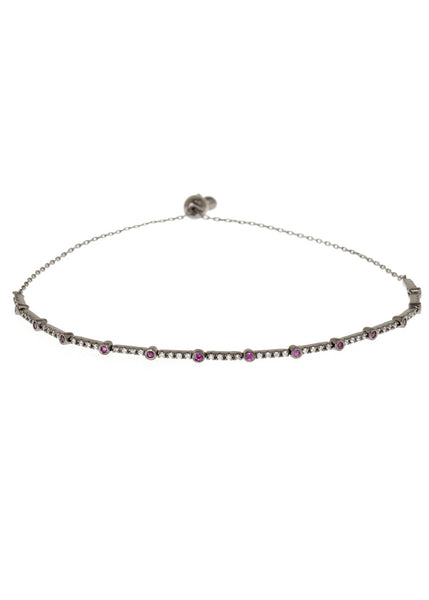 Ruby CZ accented hand set micropave high quality CZ bracelet, Gun metal finish