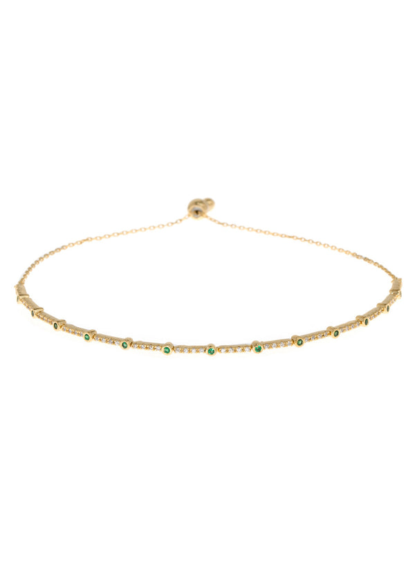 Emerald CZ accented hand set micropave high quality CZ bracelet, Gold finish