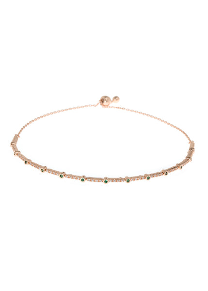 Emerald CZ accented hand set micropave high quality CZ bracelet, Rose Gold finish