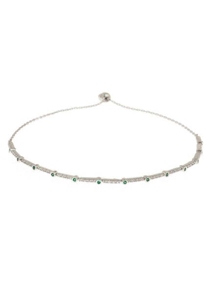 Emerald CZ accented hand set micropave high quality CZ bracelet, White Gold finish