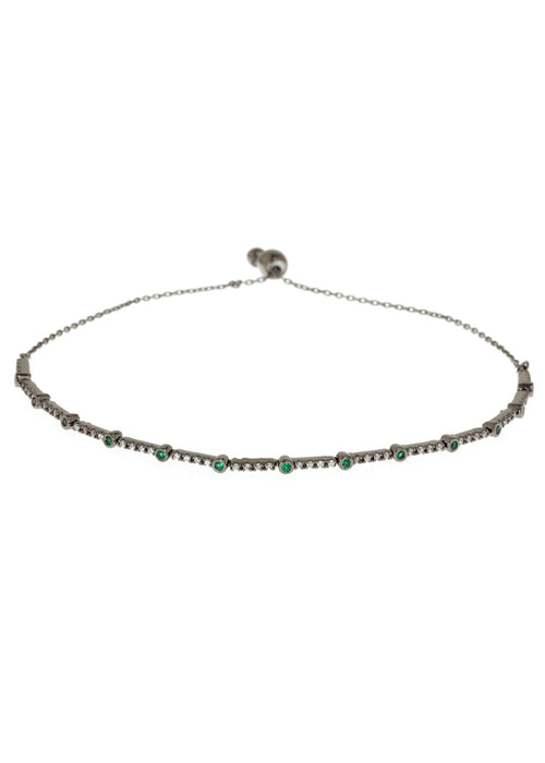 Emerald CZ accented hand set micropave high quality CZ bracelet, Gun metal finish