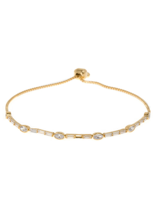 Clear CZ accented oval and baguette cut hand set high quality CZ bracelet, Gold finish
