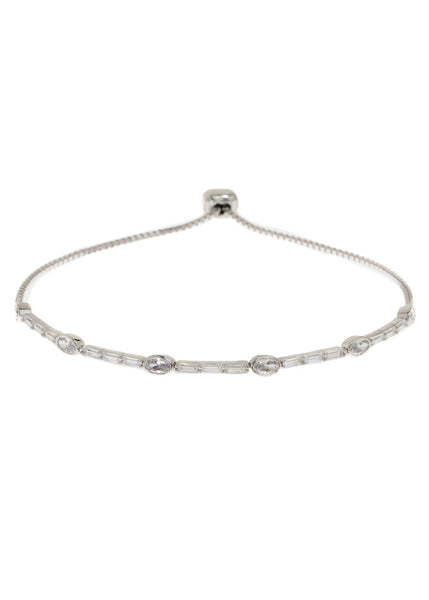 Clear CZ accented oval and baguette cut hand set high quality CZ bracelet, White Gold finish