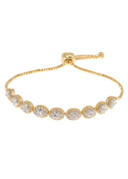 Halo clear Oval cut CZ bracelet hand set in high quality CZ, Gold finish