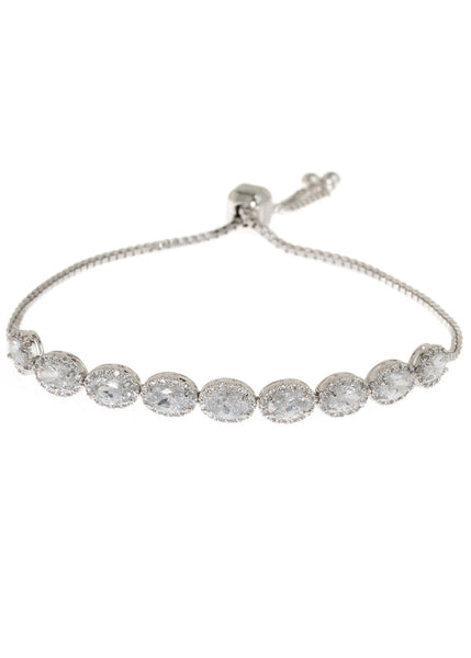 Halo clear Oval cut CZ bracelet hand set in high quality CZ, White Gold finish