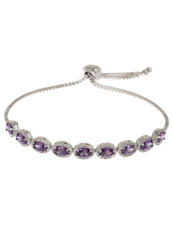 Halo Tanzanite Oval cut CZ bracelet hand set in high quality CZ, White Gold finish