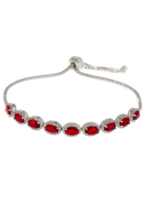 Halo Ruby Oval cut CZ bracelet hand set in high quality CZ, White Gold finish