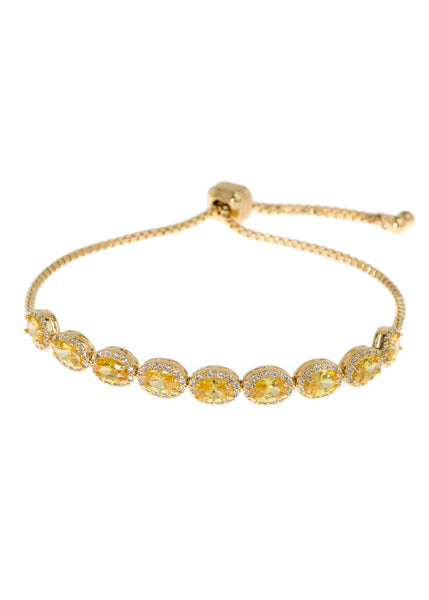 Halo Yellow Oval cut CZ bracelet hand set in high quality CZ, White Gold finish