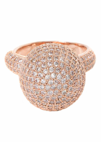 The globe statement ring with high quality micropave handset CZ, Rose Gold finish