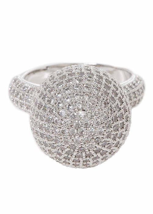 The globe statement ring with high quality micropave handset CZ, White Gold finish
