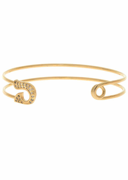 Keep it together head and tail adjustable bangle with micro pave hand set high quality CZ, Gold finish
