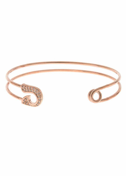 Keep it together head and tail adjustable bangle with micro pave hand set high quality CZ, Rose Gold finish