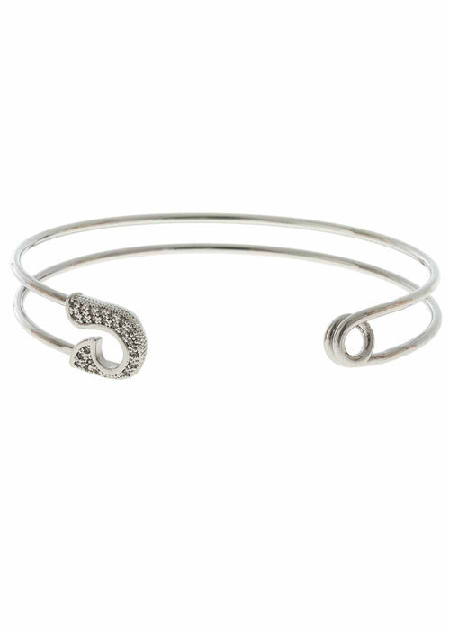 Keep it together head and tail adjustable bangle with micro pave hand set high quality CZ, White Gold finish