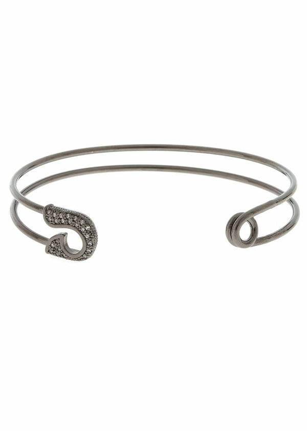 Keep it together head and tail adjustable bangle with micro pave hand set high quality CZ, Gun metal finish
