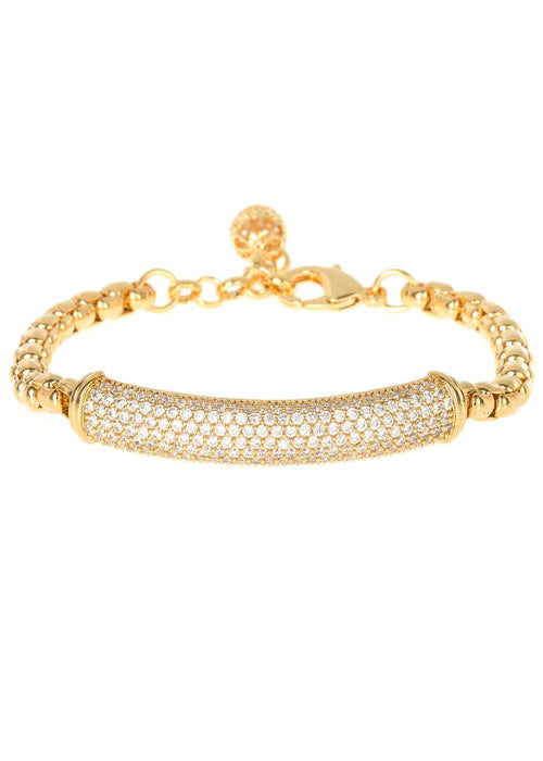 Substantial hand set high quality CZ bar bracelet with ball charm accent, Gold finish