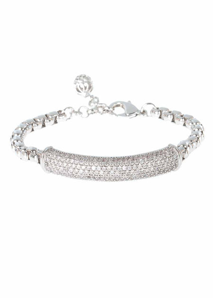 Substantial hand set high quality CZ bar bracelet with ball charm accent, White Gold finish