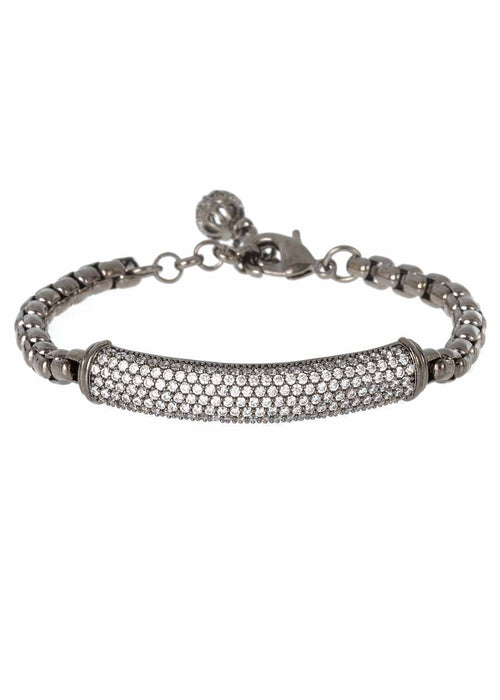 Substantial hand set high quality CZ bar bracelet with ball charm accent, Gun metal finish