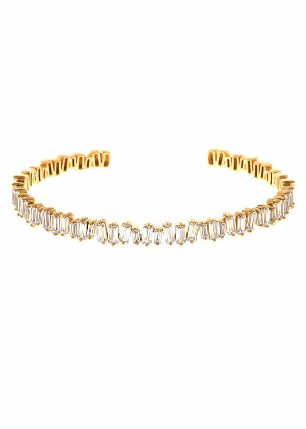 Hestia (Pronounced: eh s thee aa, Greek goddess of Fire) Single row open bangle with hand set high quality CZ, Gold finish