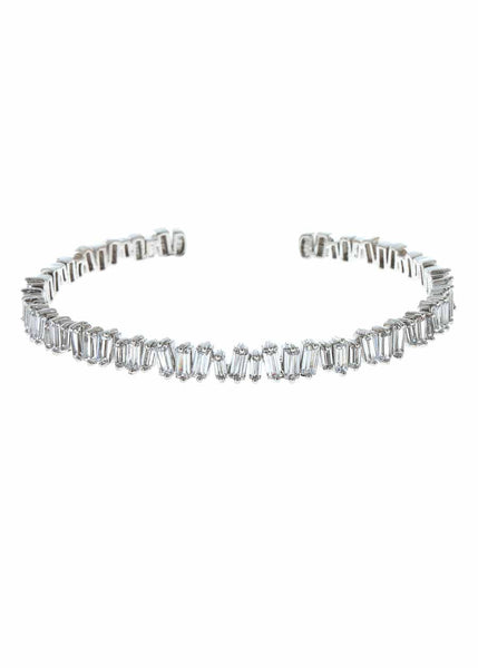 Hestia (Pronounced: eh s thee aa, Greek goddess of Fire) Single row open bangle with hand set high quality CZ, White Gold finish