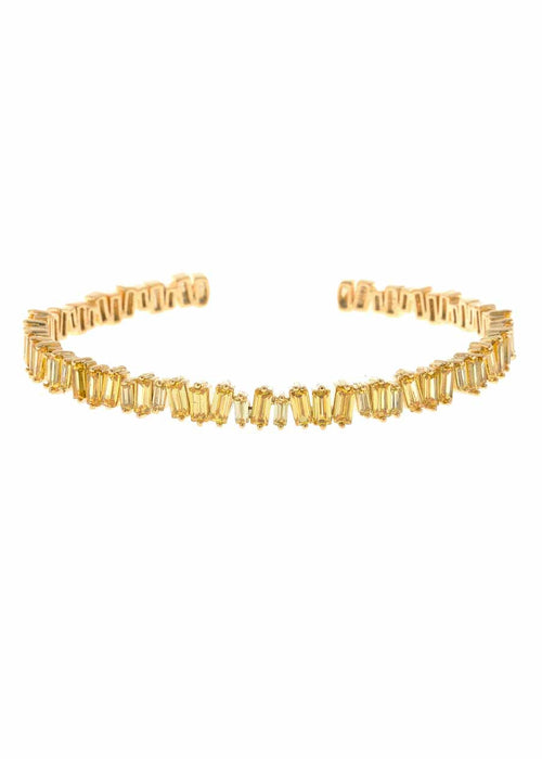Hestia (Pronounced: eh s thee aa, Greek goddess of Fire) Single row open bangle with hand set high quality Yellow CZ, Gold finish