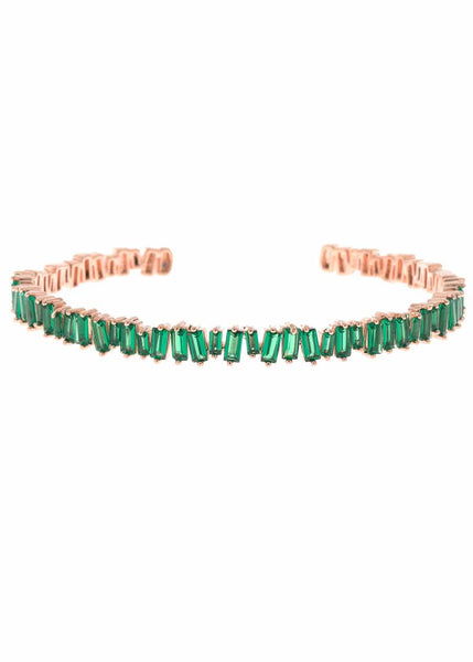 Hestia (Pronounced: eh s thee aa, Greek goddess of Fire) Single row open bangle with hand set high quality Green emerald CZ, Rose Gold finish