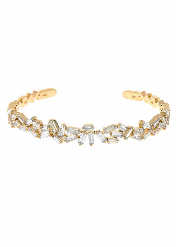 Hestia (Pronounced: eh s thee aa, Greek goddess of Fire) Multi row open bangle with hand set high quality CZ, Gold finish