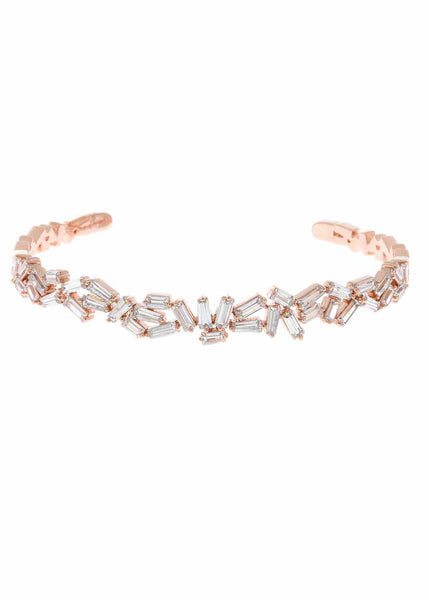 Hestia (Pronounced: eh s thee aa, Greek goddess of Fire) Multi row open bangle with hand set high quality CZ, Rose Gold finish