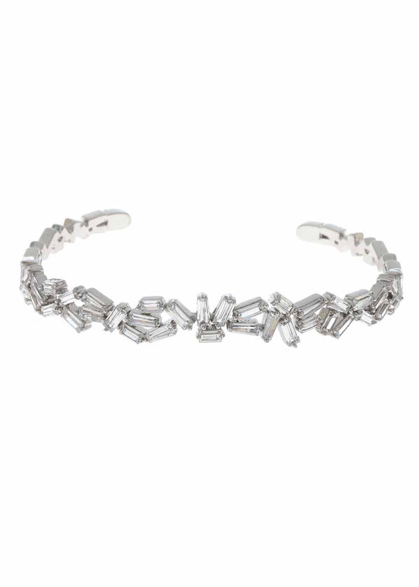 Hestia (Pronounced: eh s thee aa, Greek goddess of Fire) Multi row open bangle with hand set high quality CZ, White Gold finish