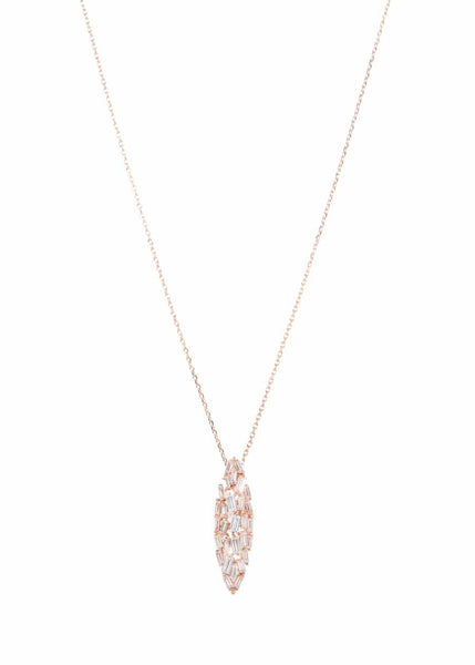 Hestia (Pronounced: eh s thee aa, Greek goddess of Fire) Marquise motif short necklace with hand set high quality CZ, Rose Gold finish