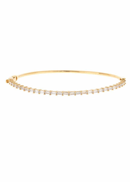 Hestia (Pronounced: eh s thee aa, Greek goddess of Fire) single row thin bracelet with hand set high quality CZ, Gold finish