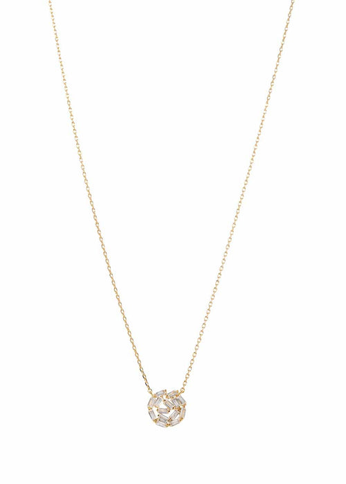 Hestia (Pronounced: eh s thee aa, Greek goddess of Fire) Small round motif short necklace with hand set high quality CZ, Gold finish