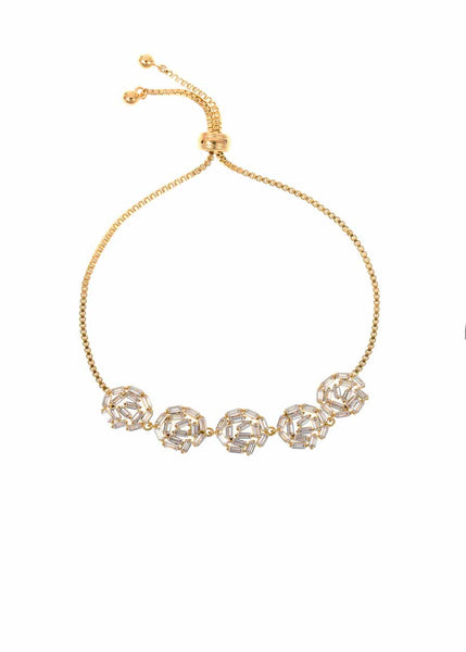 Hestia (Pronounced: eh s thee aa, Greek goddess of Fire) Five Small round motif Bracelet with hand set high quality CZ, Gold finish